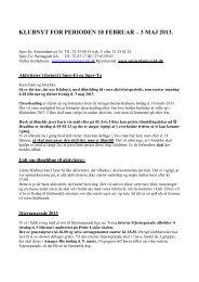 KLUBNYT FOR PERIODEN 18 FEBRUAR – 3 MAJ 2013.