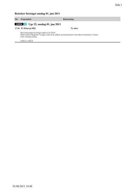Side 1 01/06/2011 14:48 Rettelser foretaget onsdag 01. jun ... - DR
