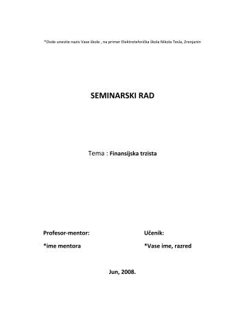 SEMINARSKI RAD - Seminarski Maturski Diplomski Radovi