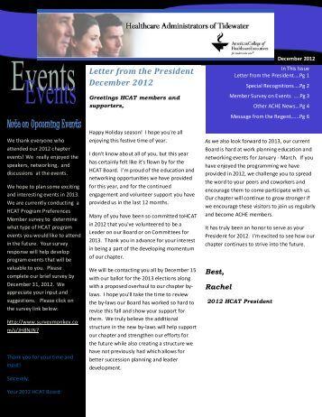 December 2012 HCAT Newsletter - Healthcare Executives of ...