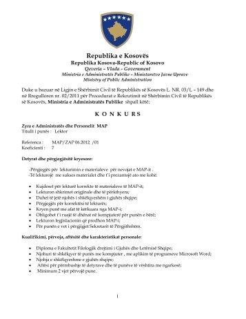 Republika e Kosovës - Ministria e Administratës Publike