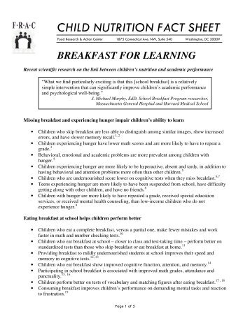 Breakfast for Learning - Food Research and Action Center