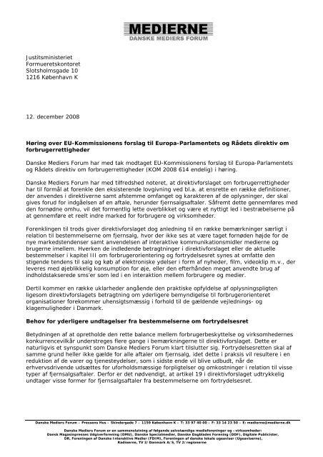 Høring - Danske Dagblades Forening