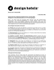 Bericht zum 3. Quartal 2006 3. November 2006 - Design Hotels