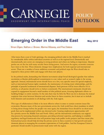 Emerging Order in the Middle East - Carnegie Endowment for ...