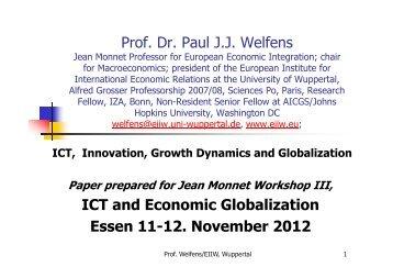 Presentation of Prof. Welfens - EIIW