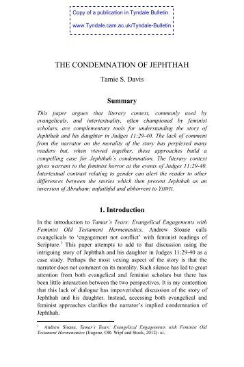 THE CONDEMNATION OF JEPHTHAH - Tyndale House