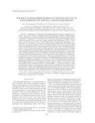 the role of prescribed burning in maintenance of an endangered ...