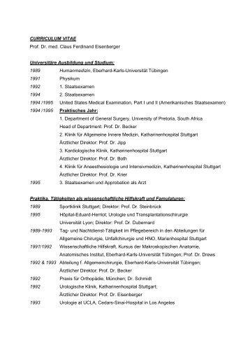 CURRICULUM VITAE Prof. Dr. med. Claus Ferdinand Eisenberger ...