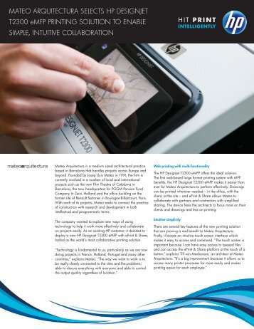 HP Designjet T2300 eMFP| IT Case study | Mateo Arquitectura| HP