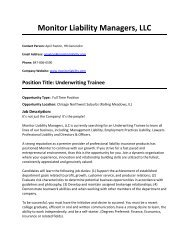 Monitor Liability Managers, LLC - College of Business