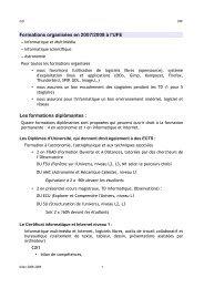 Formations organisées en 2007/2008 à l'UFE Les formations ...