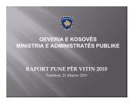 Prishtinë, 21 dhjetor 2010 QEVERIA E KOSOVËS MINISTRIA
