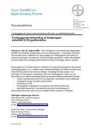 Pressemeddelelse som PDF - Bayer HealthCare Pharmaceuticals