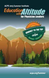 for Physician Leaders - American College of Physician Executives