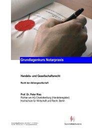 Handels- und Gesellschaftsrecht Recht der Aktiengesellschaft Prof. Dr.