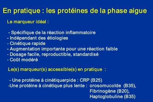 Les protéines de l'inflammation Pourquoi la CRP