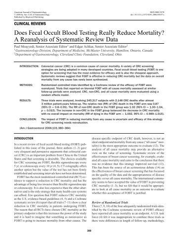 Does Fecal Occult Blood Testing Really Reduce Mortality? A ...