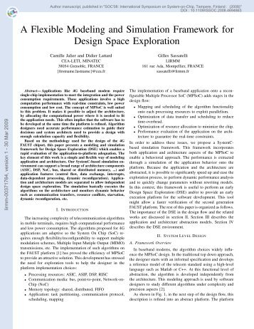 A Flexible Modeling and Simulation Framework for Design Space ...