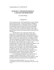 ecology and eschatology: a neglected dimension - Tyndale House