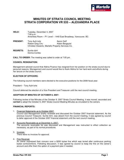 minutes of strata council meeting strata corporation vr 533 ubertor