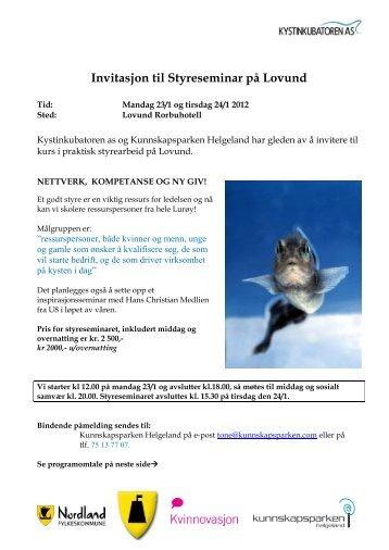 Invitasjon til Styreseminar på Lovund - Kunnskapsparken