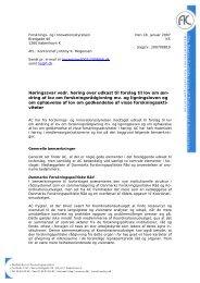 Høringssvar over udkast til forslag til lov om ændring af lov om ...