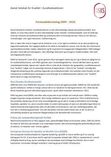 Formandsberetning 2009 – 2010 - DSKS - Dansk Selskab for ...