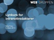 Lynkurs for intranettredaktører - Nina Furu