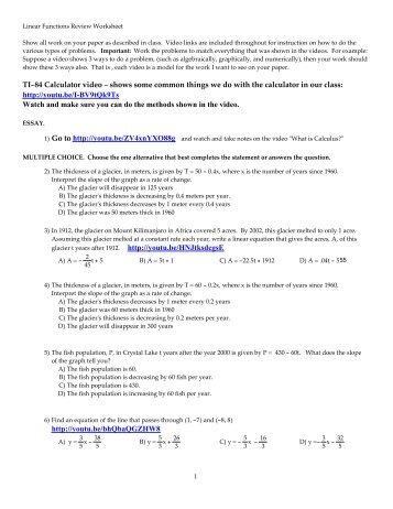 Algebra B: Graphs of Exponential Functions Worksheet ... - Bssd.net