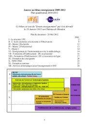 Annexe au bilan enseignement 2009-2012 Plan quadriennal 2010 ...