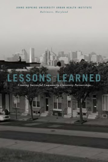 lessons learned - Urban Health Institute - Johns Hopkins University