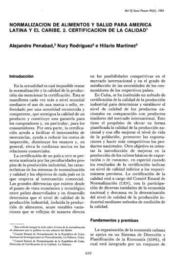 NORMALIZACION DE ALIMENTOS Y SALUD PARA ... - PAHO/WHO