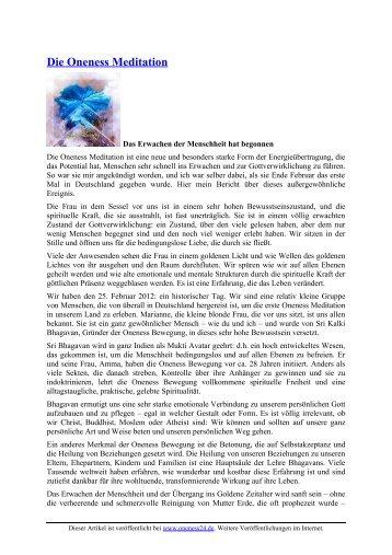 Die Oneness Meditation - Oneness 24