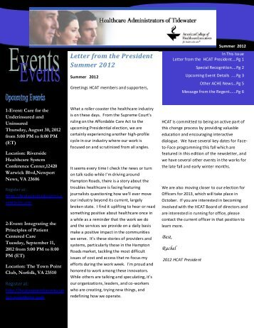 Upcoming Events - Healthcare Executives of Tidewater - ACHE.org