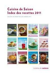 Cuisine de Saison Index des recettes 2011