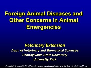 Foreign Animal Disease?? - Veterinary and Biomedical Sciences