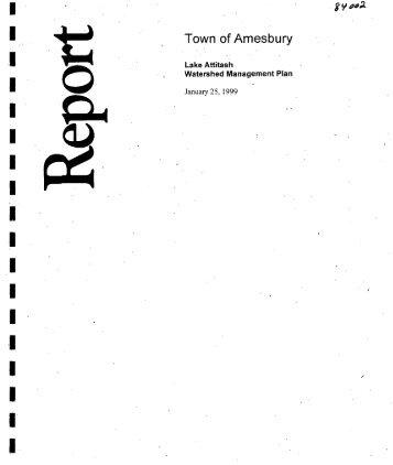 town of amesbury lake attitash watershed management plan