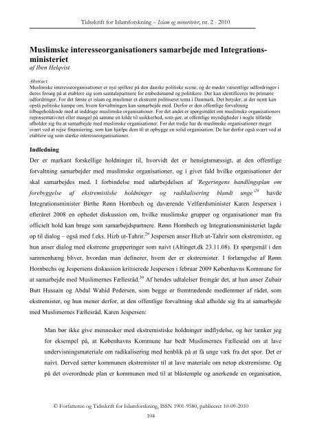Muslimske interesseorganisationers samarbejde med Integrationsministeriet