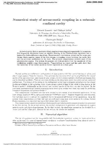 Numerical study of aeroacoustic coupling in a subsonic confined cavity