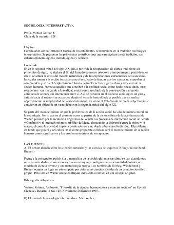 sociología interpretativa - Centro de Estudios Sociológicos - UNAM