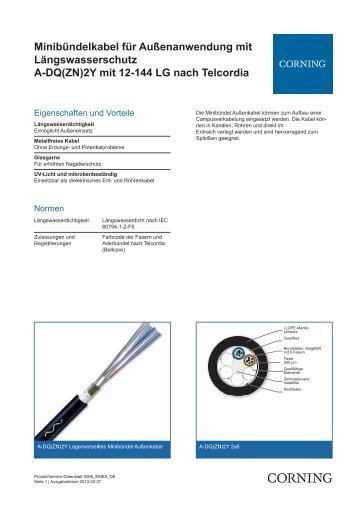 Minibündelkabel für Außenanwendung mit Längswasserschutz A ...