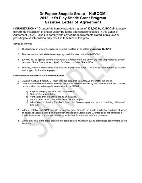 Sample Shade Grant Letter Of Agreement Kaboom