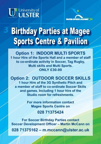 Birthday Parties at Magee Sports Centre & Pavilion