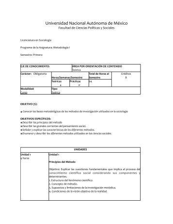 Metodología Sociologia 2011-1 - UNAM