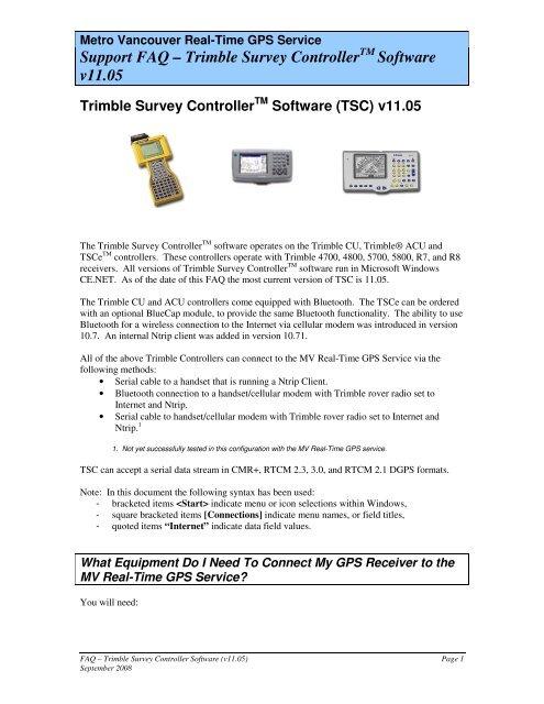 Support FAQ – Trimble Survey Controller Software v11 05