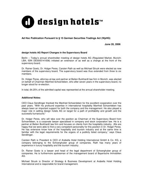 Ad Hoc Publication Pursuant to § 15 German ... - Design Hotels
