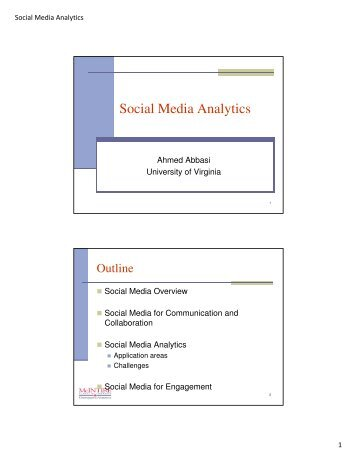 Social Media Analytics - MISRC