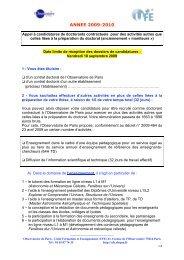 ANNEE 2009-2010 - Formation et Enseignement à l'Observatoire de ...
