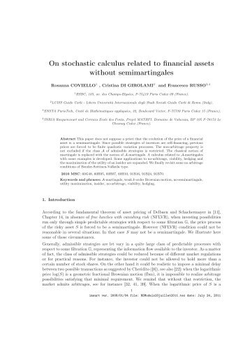 On stochastic calculus related to financial assets without ...
